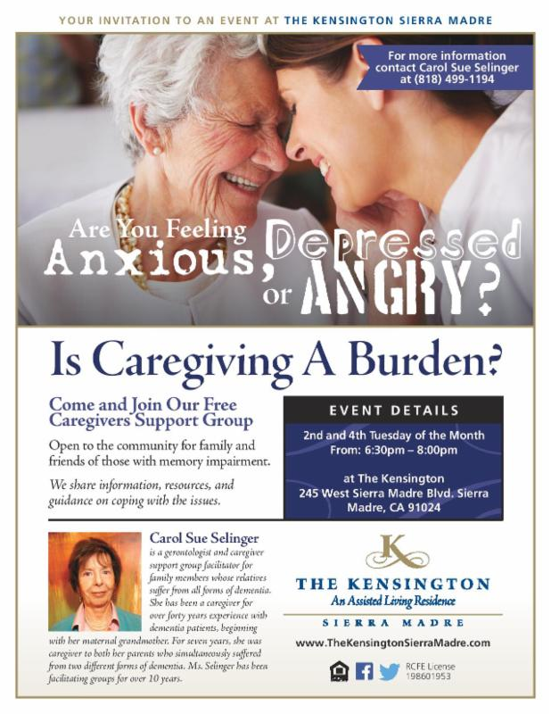 Dementia Caregiver Support Group: The Kensington Sierra Madre @ The Kensington Sierra Madre | Sierra Madre | California | United States