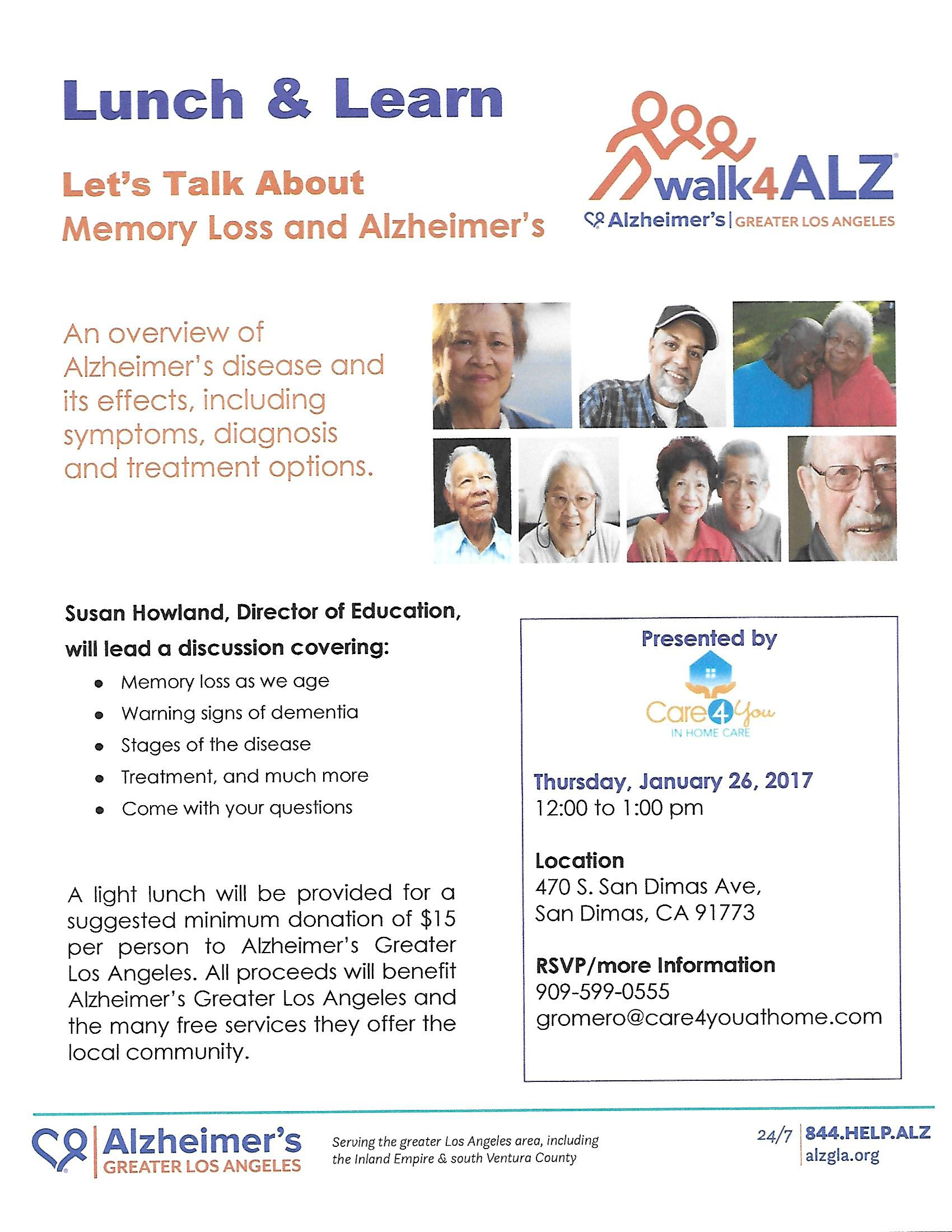 Lunch & Learn: Walk4Alz Greater Los Angeles @ Care4You | San Dimas | California | United States