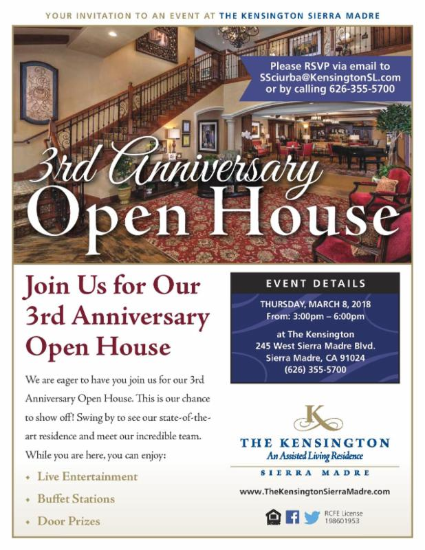 The Kensington: 3rd Open House Celebration, March 2018 @ The Kensington Sierra Madre | Sierra Madre | California | United States