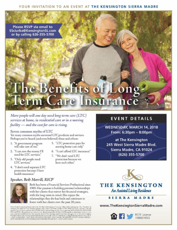The Kensington: Benefits of Long Term Care Insurance @ The Kensington Sierra Madre | Sierra Madre | California | United States